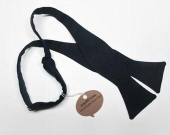 Freestyle Navy Linen Bow Tie - Handmade Men's Bow Tie - Self-Tie Bow Tie - Navy Bow Tie - Blue Bow Tie - Blue Linen Bow Tie