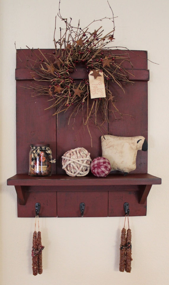 Handmade Primitive Country Distressed Wall Shelf with 3 Rubbed