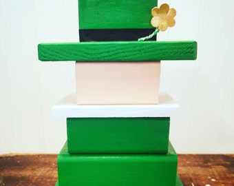 Wooden leprechaun, Stackable  St. Patrick's day decor, St Patty's day home accent, Shamrock, Luck of the Irish, Irish pride, Rustic decor