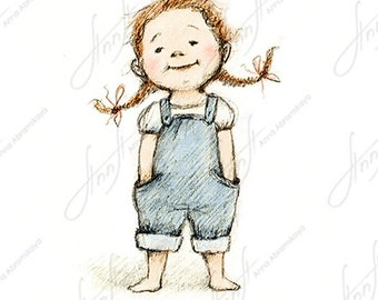 The drawing of little girl in blue pants. Printable Art. Digital file. Instant Download