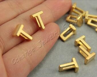 T Gold Letters, 2 pcs Alphabet Beads, Matte Gold Alphabet Letters, 24K Gold Plated, Flat Alphabet Letter Bead, ABC Letter Bead Findings