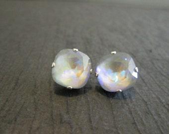 Ultra Artic AB Swarovksi Earrings/Swarovski Crystal Studs/Swarovski Grey Earrings/Grey Crystal Studs/Bridesmaid Earrings/Artic Grey Crystal