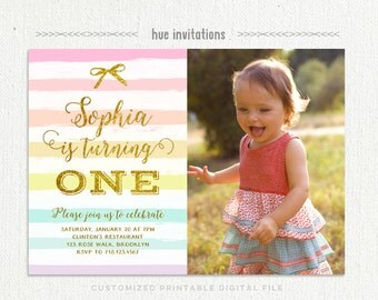 first birthday invitations, girls rainbow 1st birthday party photo invitation card, gold glitter one stripes bow digital printable invite