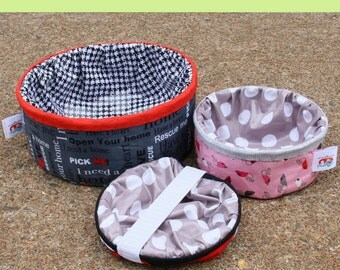 Pet Pop-Ups Pattern; FQG130; Sewing Project; Collapsible / Portable pet bowls by Fat Quarter Gypsy; Sewing Pattern