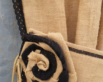 Black Burlap Curtain Tie Back - Burlap Rose Curtain Tie Back - Curtain accessory - Shabby chic - Country House - lampshade - tie backs