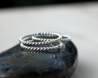 Stackable Ring Set | Stacking Ring | Thin Sterling Silver Ring Set [Twist Ring Set]