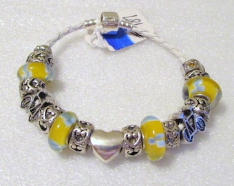 787 - NEW - Yellow Bicycle Beaded Bracelet