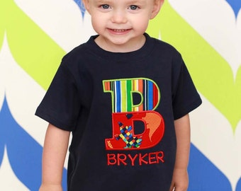 Boy Personalized Shirt with Dinosaur Split Letter and Embroidered Name