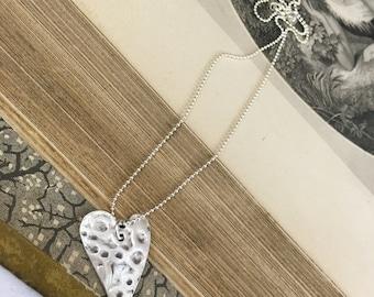 Silver Heart Pendant Neckace Sterling Silver PMC Love