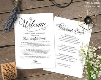 Printable, wedding welcome note, wedding welcome letter, welcome bag card, itinerary, thank you, S5