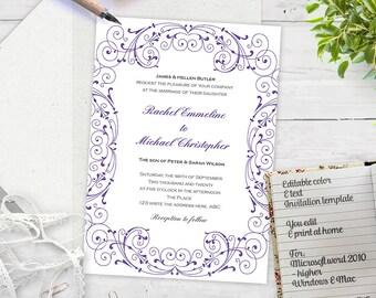 Purple wedding| Invite template| Printable wedding invitation| DIY| Wedding templates| Editable artwork| You print| FEI| T23