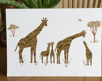 Giraffes, Greeting Card, cut paper art, african animals, african art, giraffe card, african greeting card children
