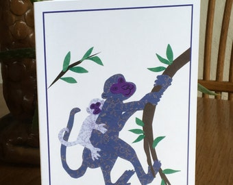 Monkey Mama, Monkey card, cut paper art, whimsical african art, nursery, baby's room, child african art prints, monkey