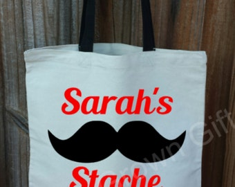 Personalized Tote Bag, Mustache Bag, Custom Stache Canvas Tote Bag, Book Bag, Grocery Bag.