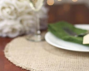 Burlap Placemat - Round Placemat - Plate Charger - Round Frayed Burlap Placemat - Round Tablemat - Burlap Table Mat - Set of 24