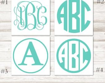 Mint Monogram Decal – Aqua Vinyl Decal – Mint Vinyl Monogram – Aqua Yeti Decal – Mint Green Personalized Decal – Aqua Initial Car Decal D216