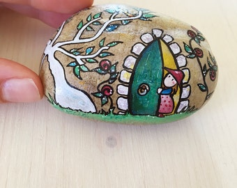 The Secret Garden OOAK hand painted stone signed and numbered