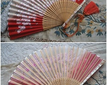 Pretty vintage Asian silk fan, mother of pearl guards