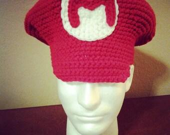 Mario Crochet Hat/Mario Newsboy Cap/Mario Bros Hat/Gaming Hats/Mario Costume/Mario Luigi Hat/Mario Cosplay/Super Mario/Nintendo Kids Fashion
