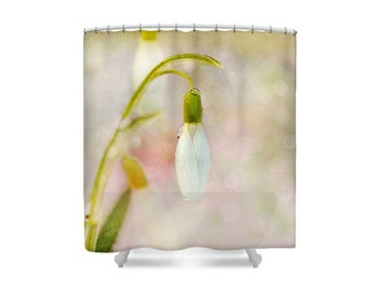 Pink Bathroom, Pastel Bathroom, Snowdrops, Shower Curtain,Pastel Decor, Flower Bathroom, Floral Bathroom, Pink and Green, Gift Womens