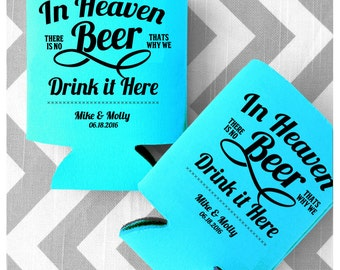 in heaven there is no beer custom funny wedding coolies customized can coolers beer