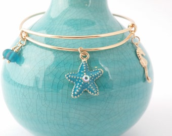 Starfish and seahorse bangle bracelet