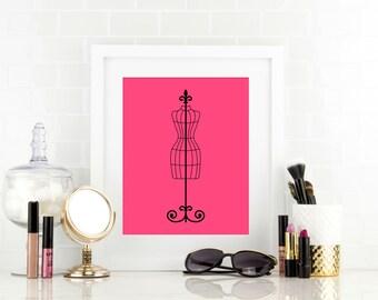 Girls Fashion Print - Bathroom Decor - Dress Form - Home Decor - Dorm Decor - Office Decor - Vanity Art - Instant Download, PRINTABLE 8x10