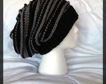 Black and Gray Slouch Beanie
