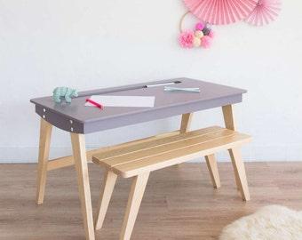 Desk, Kids desk, school desk, desk and bench, Scandinavian, wood, taupe color, mid century modern, Leopold model