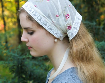 Evintage Veils~ So Soft Headwrap St. Therese Little Flower Vintage-Inspired  Lace Headband Kerchief Tie-style Head Covering Church Veil