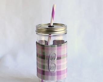 Spring Plaid Mason Jar Tumbler 24 oz   Custom Mason Jar   Spring Plaid   Mason Jar Cup   Personalized Tumbler   Unique Gifts