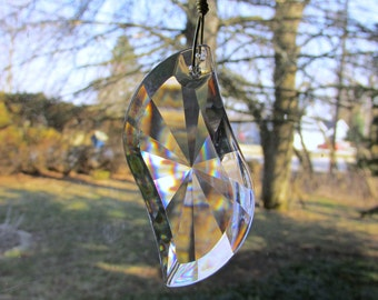 Brass Suncatcher Garden Art Beaded With Crystal Swing Prism