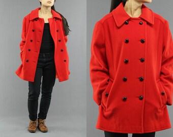 1970's Mackintosh Wool Red Pea Coat Size 16 Women's 70'sVintage