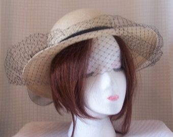 "1970's ""Accessory Lady"" 100% Natural Straw Hat with Black Veiling and Black Rear Bow with Rossette/Sunday Church Hat"