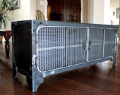 Modern Industrial Media Console | Steel TV Stand Cabinet Vintage | Entertainment Center | Audio | HiFi Retro