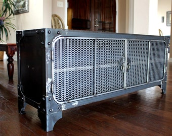Modern Industrial Furniture / Media Console / TV stand / Steel Cabinet / Entertainment Center / Vintage A/V Audio / HiFI Retro