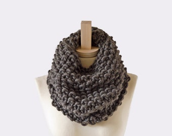 crochet cowl . knit cowl . snood scarf . knit scarf . crochet cowl knit cowl . knit snood  / Seed Stitch Cowl /  pictured : Vintage Gray