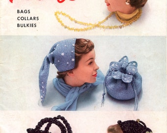 New Hats Bags Collars Bulkies from American Thread Company - Star Hat Book No. 117 (crochet, knitting,  hairpin lace) | Vintage Craft Book