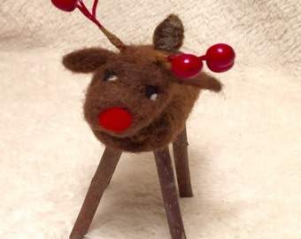 Kit: Needle Felted Twiggy Reindeer