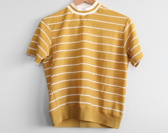 70's Mustard Striped Mock Neck