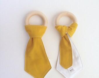 Wooden Tie Teether, Fun Baby Toy, Wooden Teething Toy, Baby Chew Toy, Baby Boy Teether, Baby Teething Tie, Baby Teething Ring, Wooden Ring