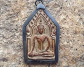 Brass or Bronze Sitting Buddha Pendant from Thailand - 2 1/2 Inches (65 mm)