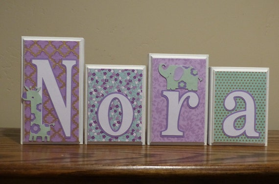 Baby Gift Gold : Personalized baby gift gold mint purple lavender name block