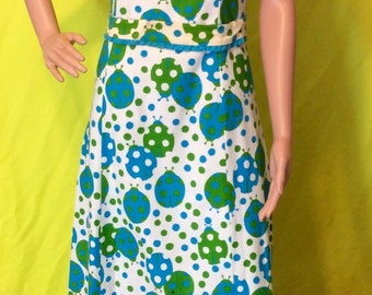 Late 60s/Early 70s Ladybug Maxi Dress, S-M
