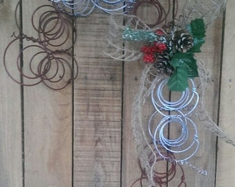 Christmas Wreath  Rustic Bed Spring Candy Cane Burlap Bow Jute Twine Accent