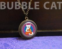 Buddhist Cat Necklace, Meditating cat, yoga cat, cat jewelry, White Cat necklace, Colorful mandala cat, Cartoon cat, photo jewelry, buddha