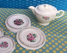 White Plastic Child's Tea Set with Purple Violet Floral Print, Cute Kitchen Decor