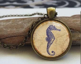 Blue Seahorse pendant Nautical jewelry Art necklace. Glass Photo Pendant charm.