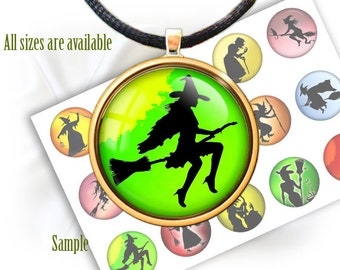 "Halloween Witches silhouettes - Digital bottle cap images collage 1'' circles, 25mm, 30mm, 1.25"", 1.5"" for Jewelry Making, BUY 2 GET 1 FREE"