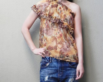 SALE, Off The Shoulder Top, Summer Top, Brown and Beige Mix, Printed Top, Four Way Top, Womens Top, Beach Top, One Size, Boho Top, Tube Top